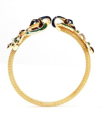 Aradhyaa Enamelled Peacock Motif Gold Plated Bangle