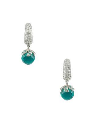 Rama Green CZ AD American Diamond Dangle Earrings Jewellery for Women - Orniza