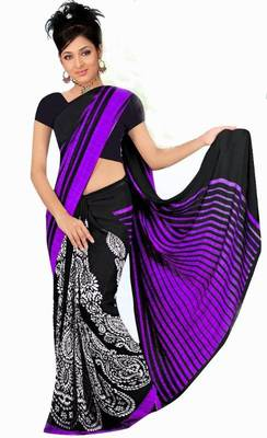 Gorgeous purple & black casual wear printed saree