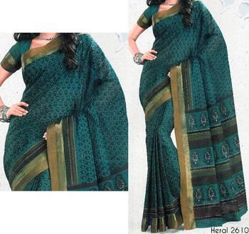 Printed cotton saree - printed sari - ethnic borders - cotton printed saree - with blouse