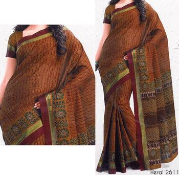 Printed cotton saree - printed sari - ethnic borders - cotton printed saree - with blouse