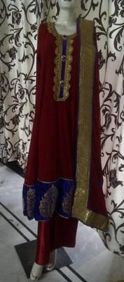 Long Red Anarkali Dress