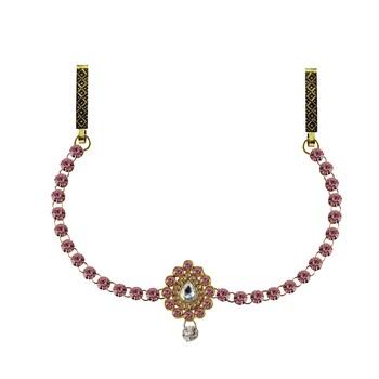 Waist Belt Gold Platted Pink Color Stone