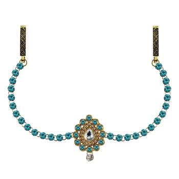 Waist belt Gold platted Light Blue Color stone