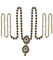 Buy Waist belt Gold platted Dark Green Color stone size 44 inch with adjustable waist-belt online