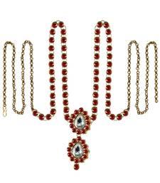Buy Waist belt Gold platted Red Color stone size 44 inch with adjustable waist-belt online