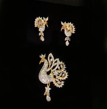 Peacock Cz American Daimond Pendant