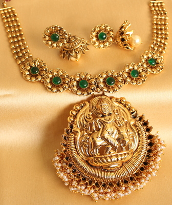 Divine Antique Green Huge Krishna Pendant Necklace With Earrings