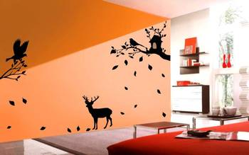 Deer under tree wall decals