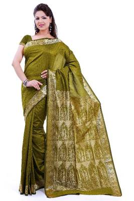 ISHIN Poly silk Baluchari Green Saree-STCS-17
