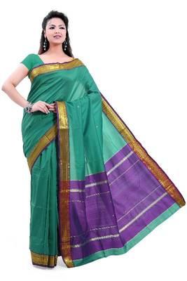 ISHIN Poly silk Paithani Green Saree-STCS-21