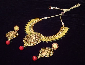 Lakshmiji antique traditional temple coin jewellery