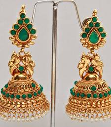 Buy Peacock Drop Jumka - Green jhumka online