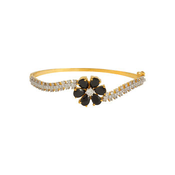 Black Floral Baguette Bracelet