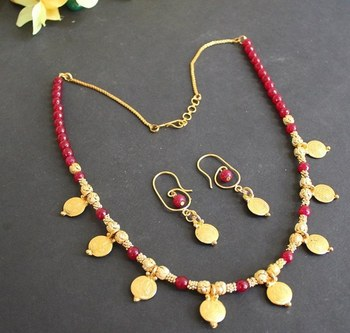 Beautiful Handmade Red Coin Necklace Set