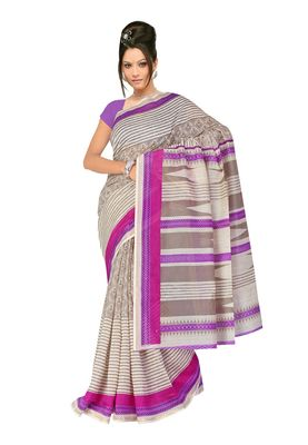 Fabdeal Grey Chanderi Cotton Silk  Saree With Blouse Piece