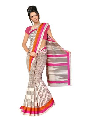 Fabdeal Grey & Pink Chanderi Cotton Silk  Saree With Blouse Piece