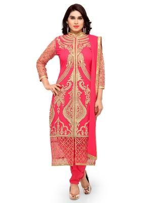Styles Closet Orange embroidered georgette semi-stitched salwar suit