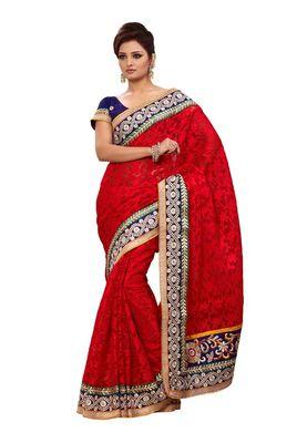 Fabdeal Red & Black Banarasi Saree With Blouse Piece