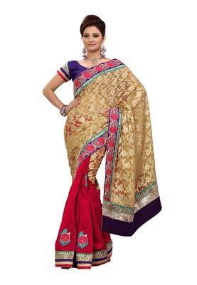 Fabdeal Cream & Red Banarasi Saree With Blouse Piece