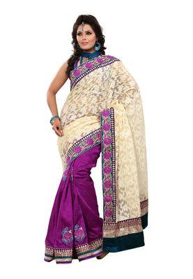 Fabdeal Wheat & Purple Banarasi Saree With Blouse Piece