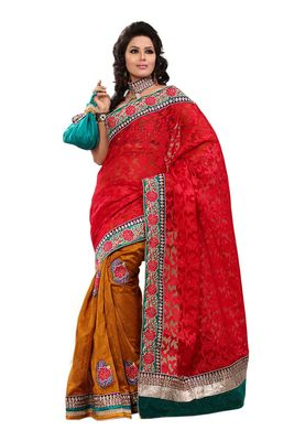 Fabdeal Red & Mustered Banarasi Saree With Blouse Piece