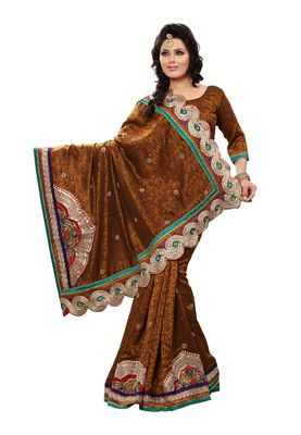 Fabdeal Mustered Bhagalpuri Jacquard Brasso  Saree With Blouse Piece