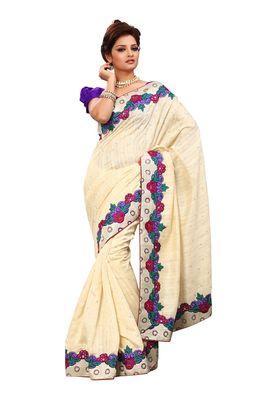 Fabdeal Red & Purple Bhagalpuri Jacquard Silk Saree With Blouse Piece