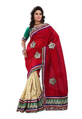 Fabdeal Red Banarasi Jute Silk Saree With Blouse Piece
