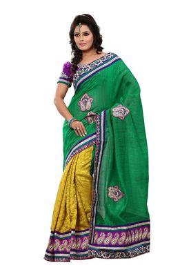 Fabdeal Green & Gold Banarasi Jute Silk Saree With Blouse Piece