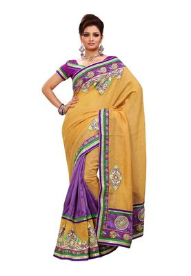 Fabdeal Mustered & Light Purple Bhagalpuri Silk Saree With Blouse Piece