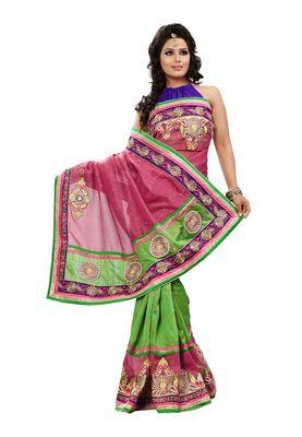 Fabdeal Peach & Green Bhagalpuri Silk Saree With Blouse Piece
