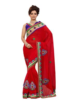 Fabdeal Red Chiffon Saree With Blouse Piece