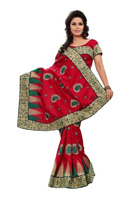 Fabdeal Red & Green Manipuri Silk  Saree With Blouse Piece