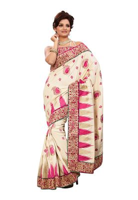 Fabdeal Cream & Pink Manipuri Silk Saree With Blouse Piece