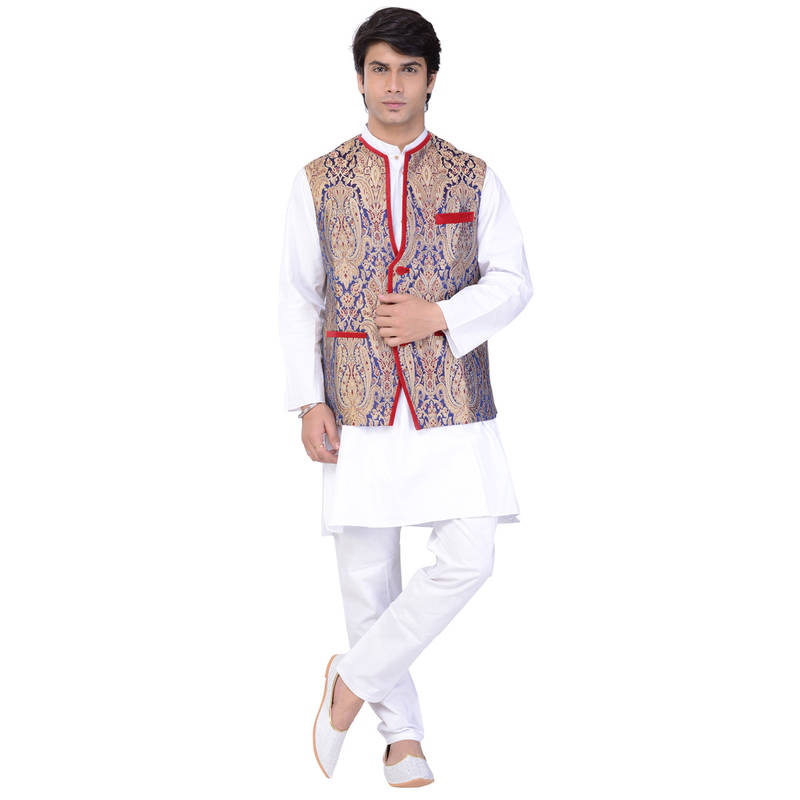 Buy Dark Blue Embroidered Benarasi Brocade Silk Nehru Jacket Online