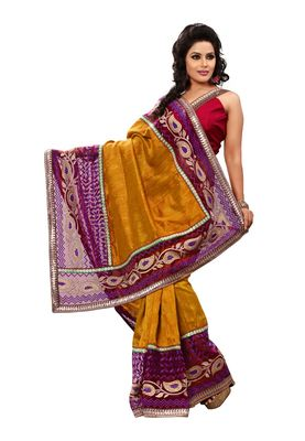 Fabdeal Purple Bhagalpuri Jacquard Silk Saree With Blouse Piece
