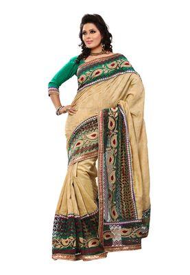 Fabdeal Green Bhagalpuri Jacquard Silk Saree With Blouse Piece