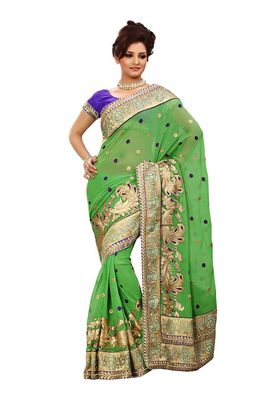 Fabdeal Green Marble Chiffon Saree With Blouse Piece