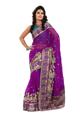 Fabdeal Purple Chiffon Saree With Blouse Piece