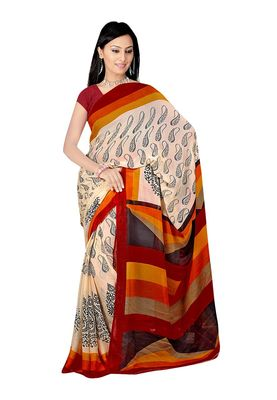 Fabdeal Wheat & Black Chiffon Saree With Blouse Piece