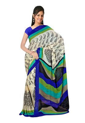 Fabdeal Black & Blue Chiffon Saree With Blouse Piece