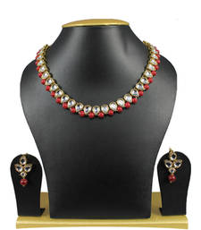 Buy Simple and Trendy Kundan Necklace Set In Maroon necklace-set online