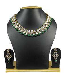 Buy Simple and Trendy Kundan Necklace Set In Green necklace-set online