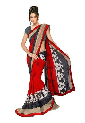 Fabdeal Red & Black Marble Chiffon Printed Saree With Blouse Piece