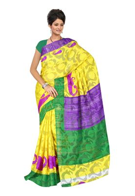 Fabdeal Yellow & Purple Kathan Silk Printed Saree With Blouse Piece