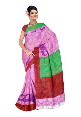 Fabdeal Pink & Red Kathan Silk Printed Saree With Blouse Piece