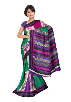 Fabdeal Green & Purple Khadi Silk Printed Saree With Blouse Piece
