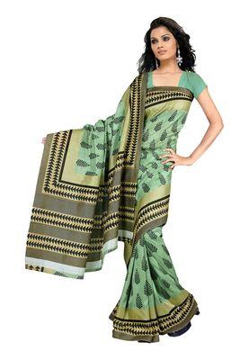 Fabdeal Aquamarine Raw Silk Printed Saree With Blouse Piece