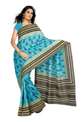 Fabdeal Blue Raw Silk Printed Saree With Blouse Piece